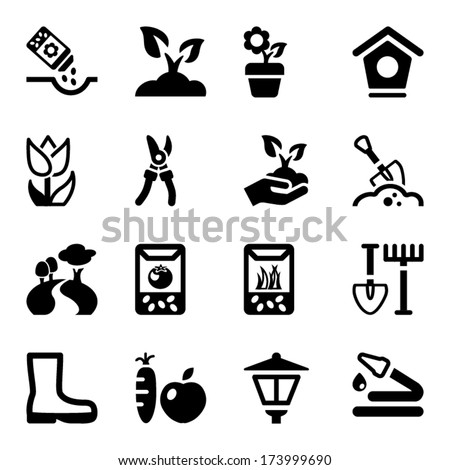 black icons set for gardening & agriculture, isolated - stock vector