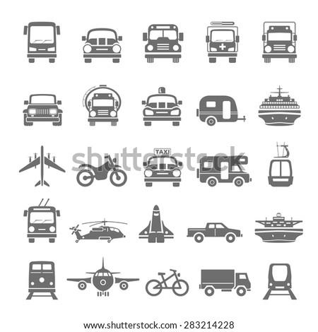 Black Icons - Transportation - stock vector