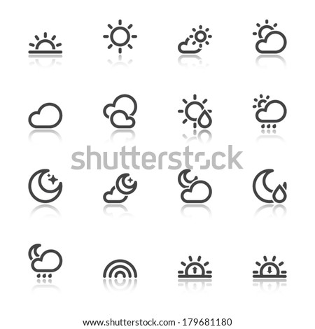 Black icons with reflection about the weather. Nice weather - stock vector