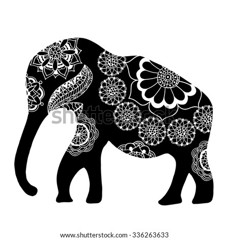 Black Indian elephant. Hand drawn doodle Indian elephant with tribal ornament. Vector ethnic elephant.