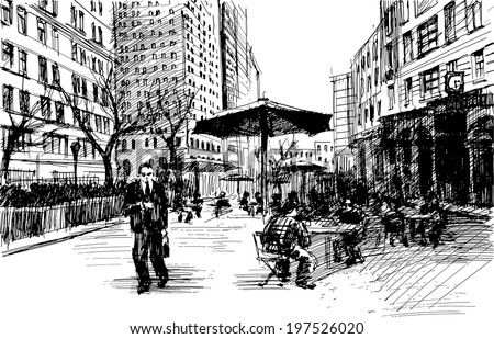 Black ink-drawing of city avenue with pedestrians, cafe and set of skyscrapers in New York - vector image - stock vector