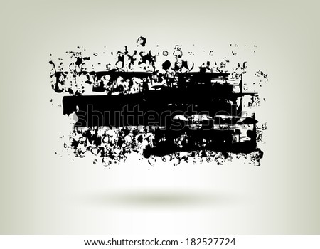 Black ink grunge banner. Abstract background. - stock vector