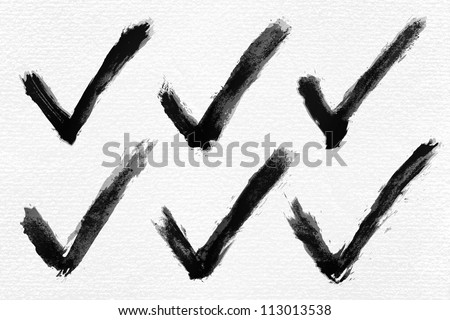 Black ink sketch check mark on watercolor paper. Isolated shape on white background. Aquarelle abstract textured in handmade technique. Vector illustration clip-art element for design saved in 10 eps - stock vector