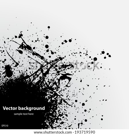 Black ink splash with sample text on white background. eps10 - stock vector