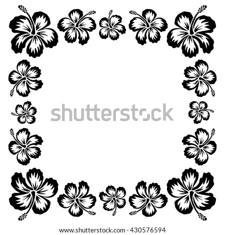 Black Ink Style Drawn Vector Hibiscus Tropical Flowers Frame