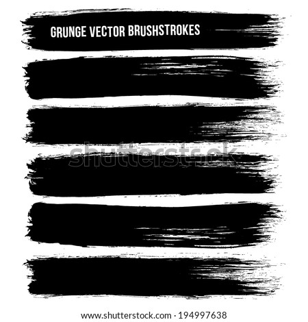 Black ink vector brush strokes - stock vector