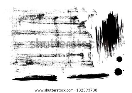 Black ink vector set of strokes and splashes - stock vector