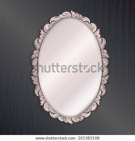 black interior vintage ivory mirror - vector illustration - stock vector