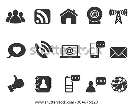 black internet communication icons set - stock vector