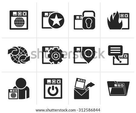 Black Internet, website and  Security Icons - vector icon set - stock vector