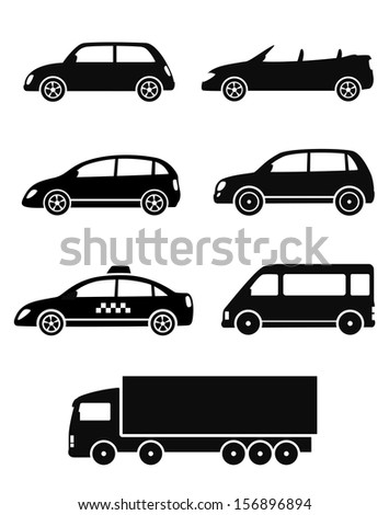 black isolated cars set on white background - stock vector