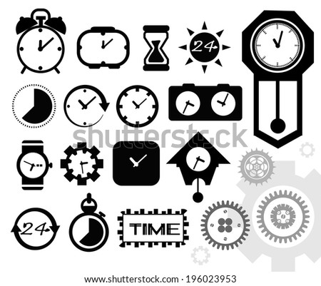 Black isolated clock icon on white background, time icon