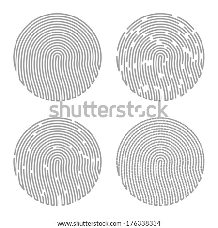 Black Isolated Fingerprint - stock vector