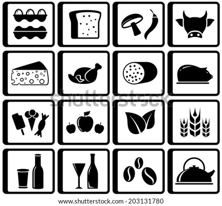 black isolated food buttons for market place - stock vector