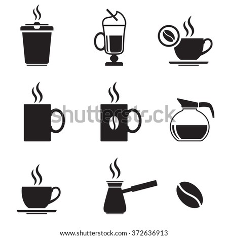 Black isolated icons on a theme coffee