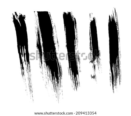 Black isolated ink brush strokes with messy drops - stock vector