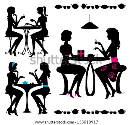 Black isolated silhouettes of girls in cafe. Vector