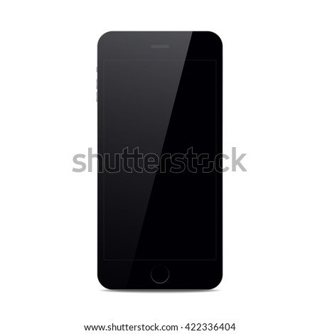 Black isolated smart phone with shadow