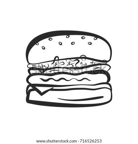 Black Isolated Vector Outline Hamburger Icon Stock Vector Royalty