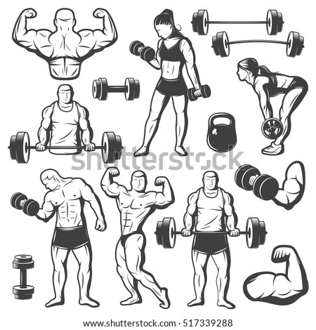 Black isolated vintage body building icon set with women and men doing sport exercises with barbell vector illustration