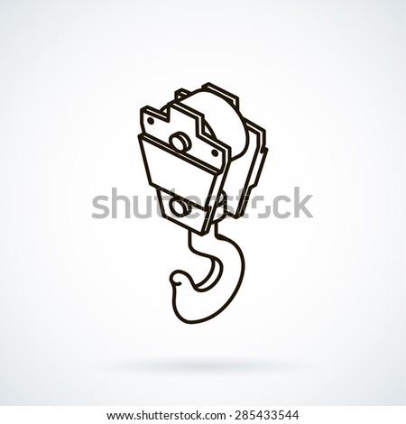 Black isometric line vector icon hoisting crane on white background. - stock vector