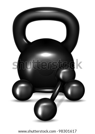 Black kettlebell with two dumbbells vector