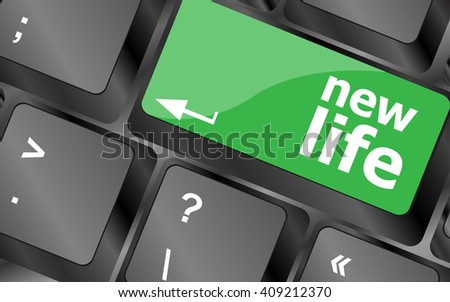 black keyboard keys with new life words. Keyboard keys icon button vector. keyboard keys, keyboard button, keyboard icon  - stock vector