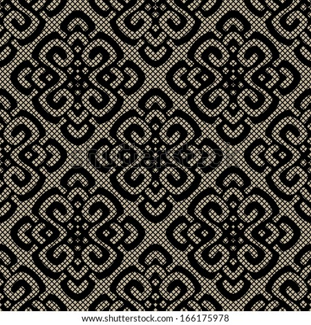 Black lace damask pattern, seamless vector textures. illustration with elegance veil - stock vector