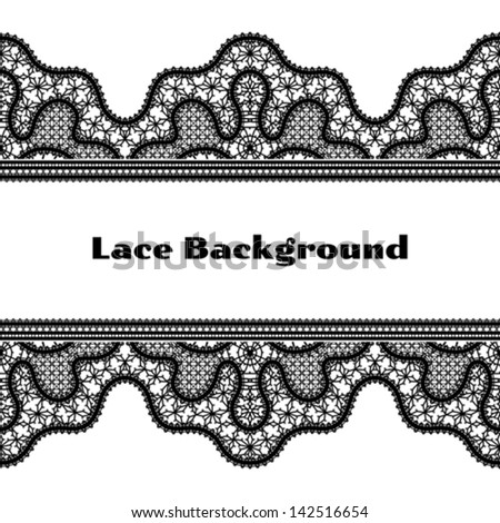 Black lace on white, seamless border background, vector illustration