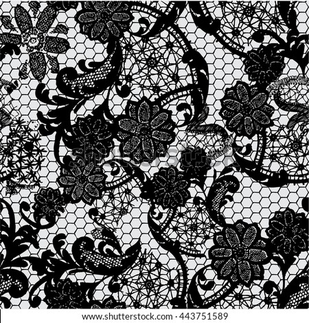 Black Lace Pattern On Grey Background Stock Vector ...