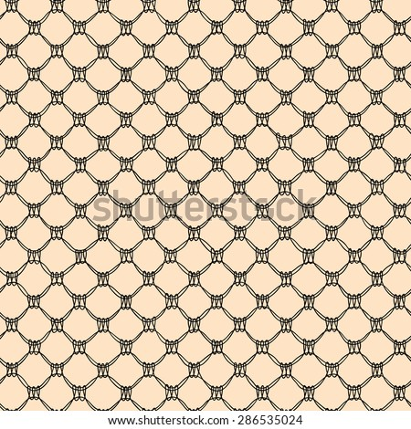 Black Lace. Seamless Pattern. Beige Background. - stock vector