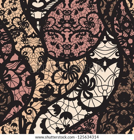 Black lace vector fabric seamless pattern - stock vector
