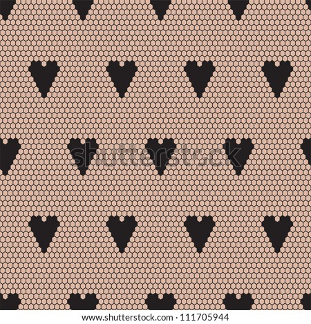 Black lace vector fabric seamless  pattern with hearts - stock vector