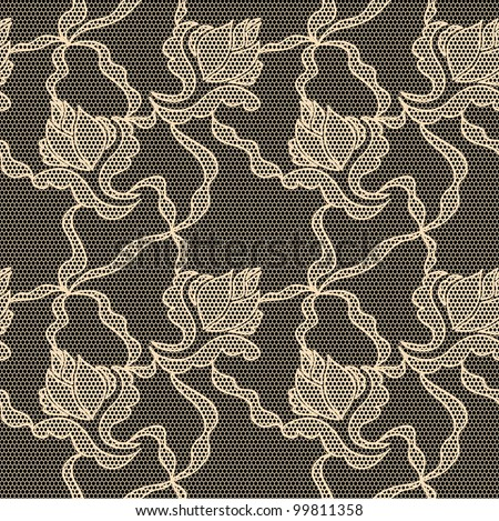 Black lace vector fabric seamless  pattern with orchids - stock vector