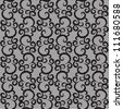 black lace with swirls on white background. seamless pattern. - stock vector