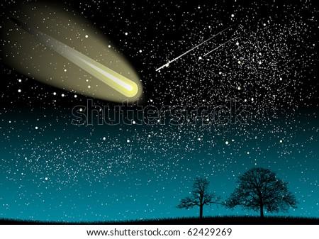 black landscape under the universe - stock vector