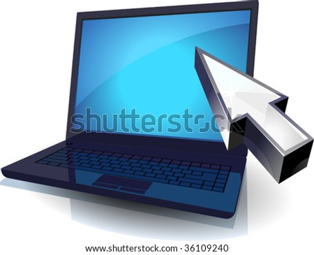 Black laptop with blue screen and cursor concept. Vector illustration.