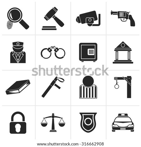 Black Law, Police and Crime icons - vector icon set  - stock vector