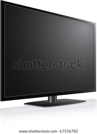 Black LCD, LED, Plasma TV Screen illustration - stock vector