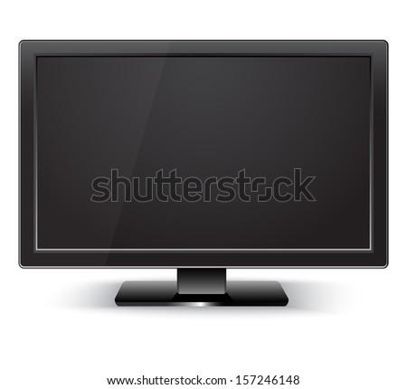 Black LCD TV monitor. Illustration on white background  - stock vector