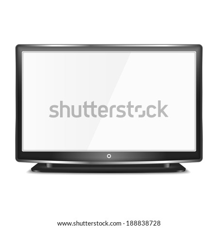 Black LCD TV screen on white background, vector eps10 illustration