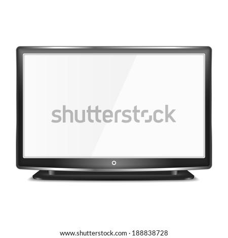 Black LCD TV screen on white background, vector eps10 illustration - stock vector