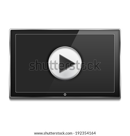 Black LCD TV Screen with play button, vector eps10 illustration