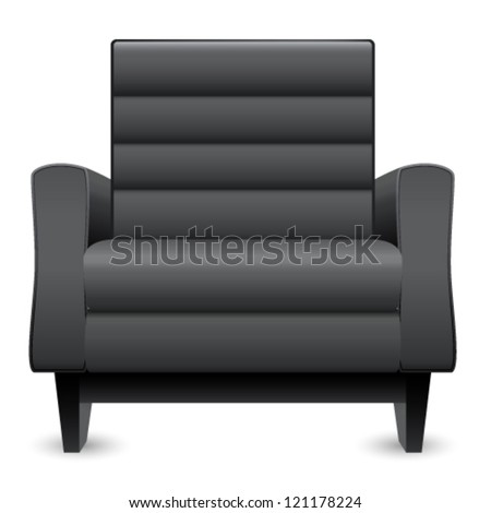 black leather armchair - vector illustration - stock vector