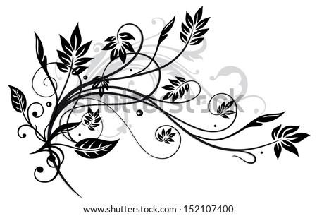 Black leaves, floral element - stock vector