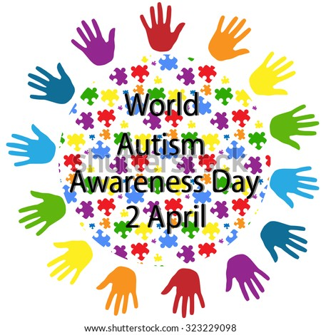 black lettering World autism awareness day and a globe consisting of colorful puzzles with palms around on white background. Symbol of autism. New iridescent Original Vector Illustration - stock vector