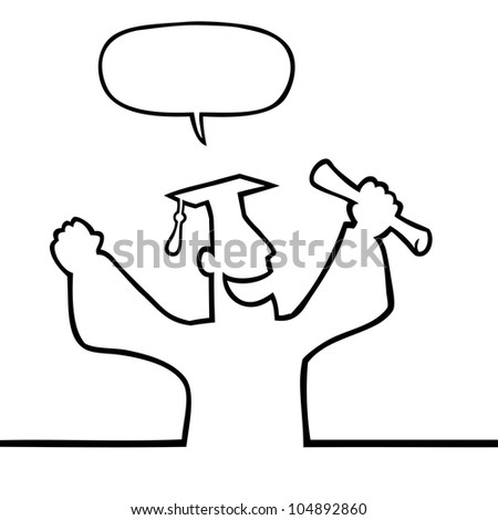 Black line art illustration of a happy graduate with diploma. - stock vector