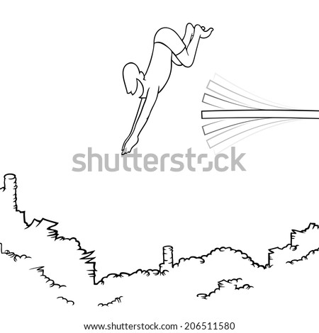Black line art illustration of a man diving off a diving board into a big pile of money. EPS8. No transparencies. - stock vector