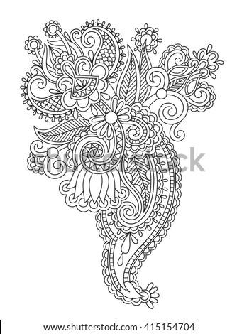 black line art ornate flower design, ukrainian ethnic style, hand drawing, vector illustration - stock vector