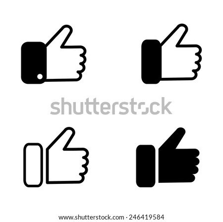 Black Line  Flat  Button Hand Like Icon Facebook Vector Background, JPG, JPEG,EPS Logo design Faceboo Download